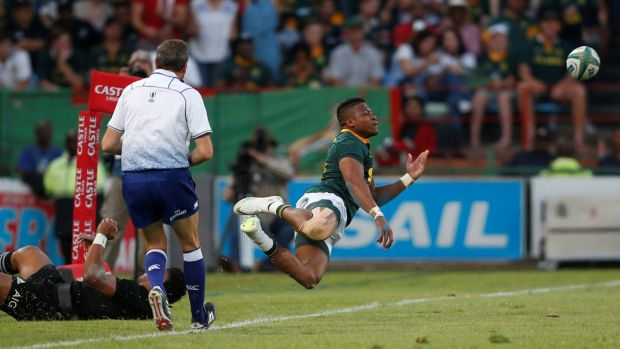 South Africa's Aphiwe Dyantyi in action during the Rugby Championship match against New Zealand at Loftus Versfeld stadium in Pretoria. Photograph: Siphiwe Sibeko/Reuters