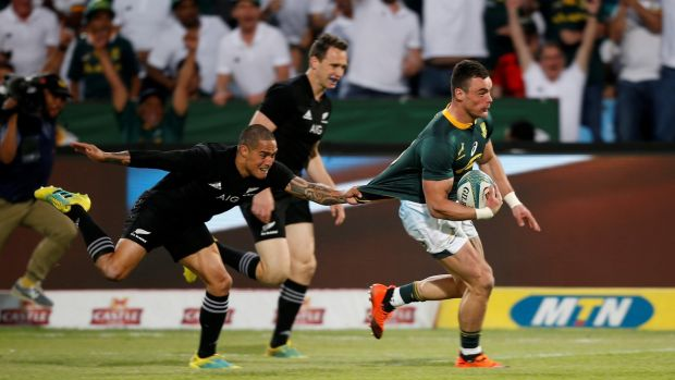 South Africa's Jesse Kriel scores a try during the Rugby Championship match against New Zealand at Loftus Versfeld stadium in Pretoria. Photograph: Siphiwe Sibeko/Reuters