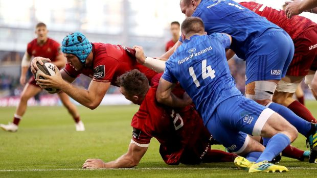 Munster's Tadhg Beirne scores a try during the Guinness Pro 14 game at the Aviva Stadium. Photograph: Bryan Keane/Inpho