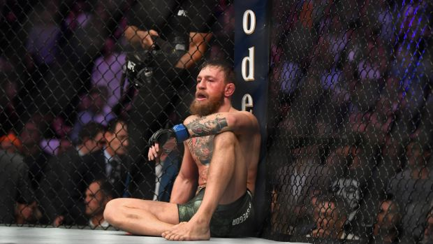 Conor McGregor after his defeat to Khabib. Photograph: Harry How/Getty