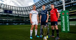Ulster's Jordi Murphy, Leinster's Johnny Sexton and Munster's  Peter O'Mahony. Photograph: Billy Stickland/Inpho