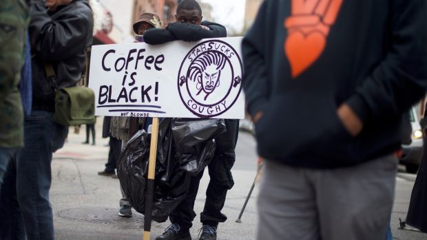 Protestors outside a Starbucks in Philadelphia, Pennsylvania last April, following an incident in which two black men were arrested, and which prompted an apology from the company's CEO. Photograph: Mark Makela/Getty Images