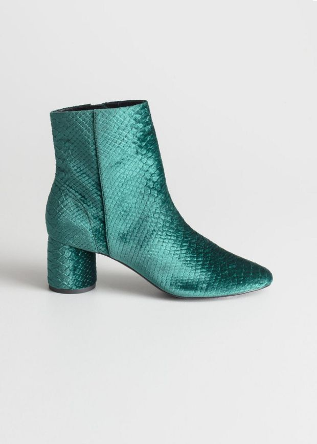 Velour snake ankle boots €129 www.stories.com