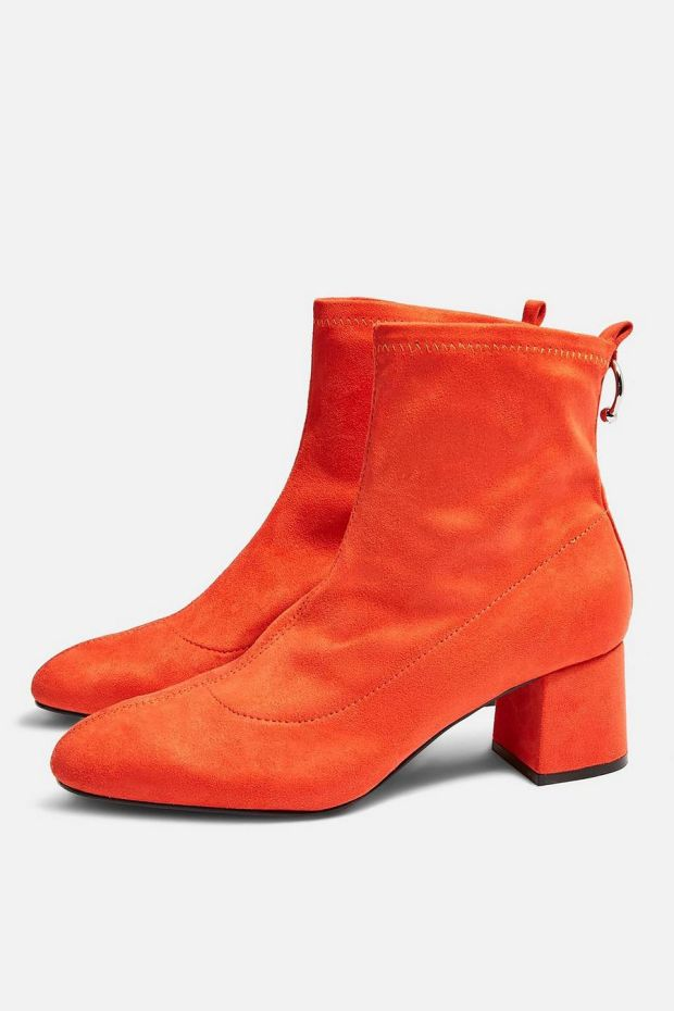 "Red suede ""Blossom"" boots with ring detail €50 from Topshop"