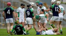 Tempers flare between the Coolderry and Kilcormac-Kiloughey players in the final at O'Connor Park. Photograph: Bryan Keane/Inpho