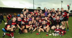 Ballygunner celebrate their Waterford final victory at Fraher Field. Photograph: Tommy Dickson/Inpho