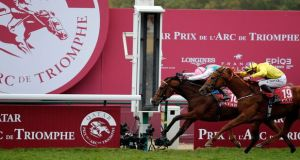 Franke Dettori riding rides Enable to victory ahead of James Doyle on Sea of Class. Photograph: Francois Mori/AP