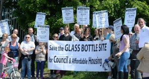 A protest in 2016 at the Irish Glass Bottle site at Poolbeg  calling for affordable housing. Photograph: Cyril Byrne