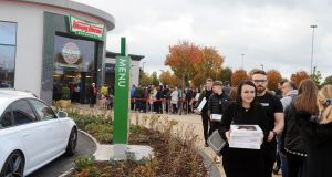 People queue outside the Krispy Kreme outlet in Blanchardstown Shopping Centre. Photograph: Aidan Crawley