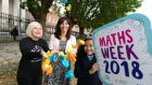 From left: Dr Sheila Donegan, co-founder of Maths Week, Margie McCarthy, head of Education and Public Engagement, Science Foundation Ireland, and Aislinn Bueno (11) from Scoil Chaoimhín Primary School, Marlborough Street, Dublin, at the launch of Maths Week 2018. Photograph: Shane O'Neill, SON Photographic