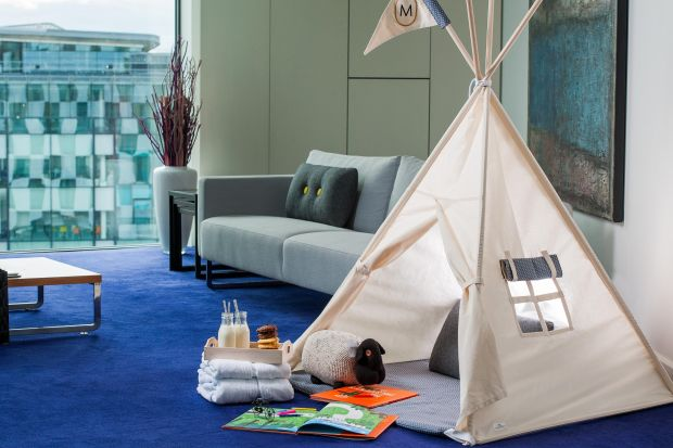 Marker Hotel: guests have the option of an in-room tepee, large enough for two small ones to sleep in, with fluffy pillows, blankets and a torch