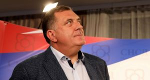 The SNSD party of Bosnian Serb pro-Russian nationalist leader Milorad Dodik appeared to be the strongest party in Bosnia. Photograph:  Milan Radulovic/AFP/Getty Images
