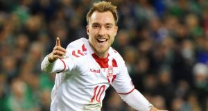 Denmark's Christian Eriksen celebrates after scoring a goal during the  World Cup  playoff second leg against the Republic of Ireland in November 2017. Photograph: Aidan Crawley/EPA