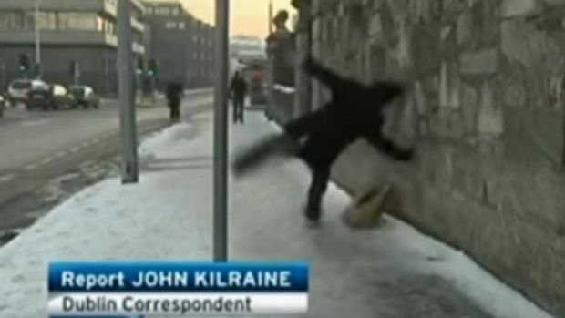 Man who slipped on the ice: must be the most-watched clip of the RTÉ Six One news ever