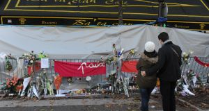 A memorial for the victims of the Bataclan attack in Paris on November 22nd, 2015. Photograph: Pierre Marcellsi/Gamma-Rapho/Getty Images.