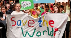 Children are seen during climate march prior to the opening session of the COP23 UN Climate Change Conference 2017. Photograph: Wolfgang Rattay/File Photo/Reuters