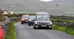 The coffin of the late Emma Mhic Mhathúuna   being taken to her home  in Ballydavid, Co Kerry. Photograph: Domnick Walsh