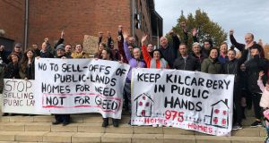 Housing activists opposed to major Clondalkin housing scheme protest ahead of South Dublin County Council meeting. Photograph: Jack Power