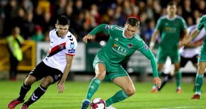 Cork City's Seán McLoughlin in action against  Dinny Corcoran of Bohemians. Photograph: Ryan Byrne/Inpho