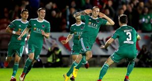 Cork City's Karl Sheppard celebrates scoring their second goal of the  FAI Cup semi-final replay at Turner's Cross. Photograph: Ryan Byrne/Inpho