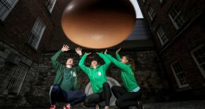 Limerick hurler Cian Lynch with hockey international Nikki Evans and and fitness instructor, Roz Purcell and an event to promote World Egg Day on Monday. Photograph: Dan Sheridan/Inpho