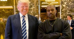 File image from December 13th, 2016, of US president Donald Trump and Kanye West at Trump Tower in New York. File photograph: AP Photo/Seth Wenig