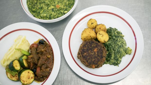 Three lunch meals at the Havelhöhe hospital in Berlin. Photograph: Gordon Welters/The New York Times