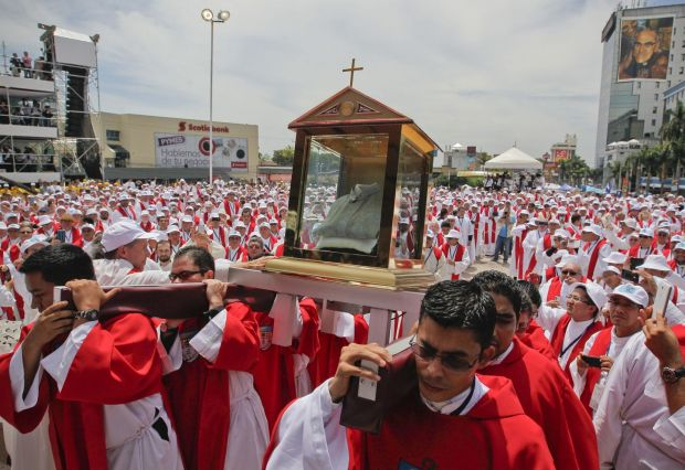 Acolytes carry the relics of Oscar Romero during his beatification ceremony at Salvador del Mundo Square in San Salvador, El Salvador on May 23rd, 2015 Photograph: Oscar Rivera/EPA