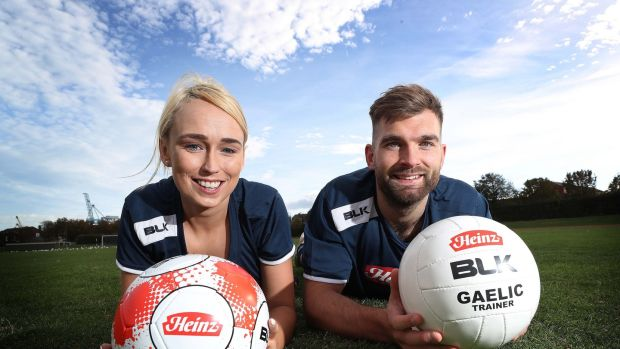 Aidan O'Shea and Stephanie Roche pictured at the launch of the 'Heinz Sports Club' initiative.