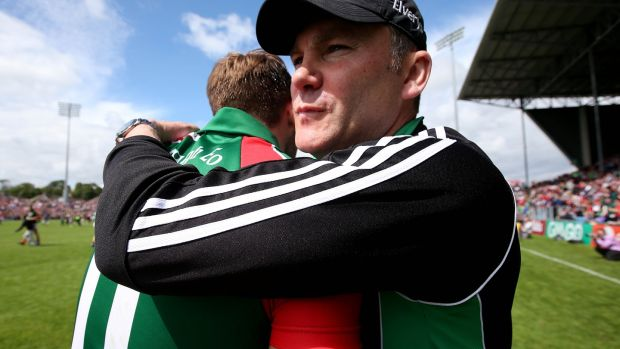 Mayo manager James Horan with Aidan O'Shea at the end of 2014 Connacht final. Photograph: Donall Farmer/Inpho