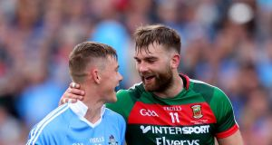 Aidan O'Shea shares a joke with Con O'Callaghan during the 2017 All-Ireland final. Photograph: James Crombie/Inpho