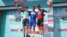 Sam Bennett of Team Bora-Hansgrohe, Ariel Maximiliano Richeze Team Quick Step Floors and Jean Pierre Drucker of BMC Racing Team after stage two of the Tour of Turkey. Photo: Alex Livesey/Getty Images