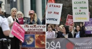 Both sides: Women protest against abortion (left) and in favour of choice (right) in Belfast. File photographs: Getty Images