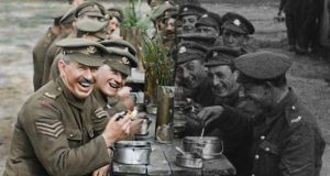 They Shall Not Grow Old: Peter Jackson's documentary colourises silent first World War footage and uses lip-readers to enable actors to re-create what  the soldiers were saying. Photograph: IWM/Wingnut Films
