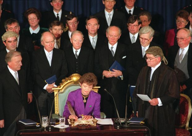 Women in politics: Mary Robinson signs her seal of office at her inauguration in 1990. Photograph: Matt Kavanagh