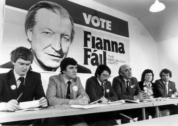 Women in politics: Mary Harney at a Fianna Fáil press conference in 1981. Photograph Paddy Whelan