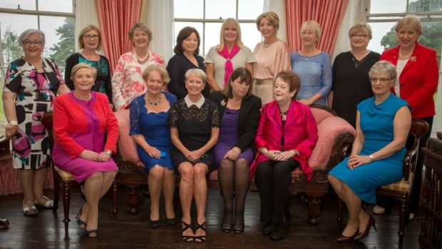 Lissadell House, July 2016: former and sitting TDs (back row) Niamh Bhreathnach, Jan O'Sullivan, Nora Owen, Mary Harney, Mary Mitchell O'Connor, Mary Coughlan, Mary Hanafin, Síle de Valera, Heather Humphreys; (front row) Frances Fitzgerald, Gemma Hussey, (Constance Cassidy, host and owner of Lissadell House), Máire Geoghegan-Quinn, Mary O'Rourke, Katherine Zappone. Joan Burton was not in attendance; Regina Doherty and Josepha Madigan were appointed senior Ministers in 2017. Photograph: James Connolly