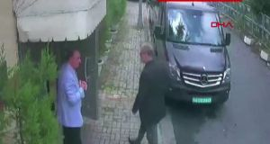 Saudi journalist Jamal Khashoggi (right) arriving at the Saudi Arabian consulate in Istanbul on October 2nd,  in a video grab from CCTV footage obtained by Turkish news agency DHA. Photograph:  Demiroren News Agency/AFP/Getty Images