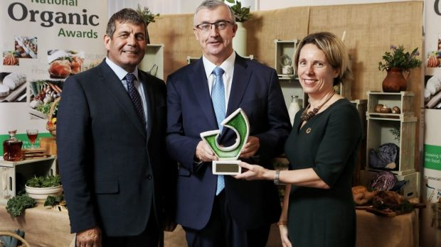 Wexford-based Irish Country Meats magazine director Joe Hyland (centre) receiving the Overall Award at this year's Bord Bia National Organic Awards with Minister of State for the Department of Agriculture, Food and the Marine, Andrew Doyle and Tara McCarthy, ceo Bord Bia