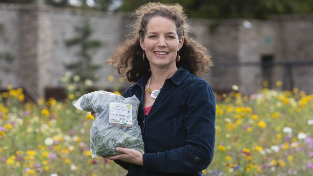Una Ni Bhrion won an award for her Beechlawn Organic Farm curly kale in compostable bio bag.