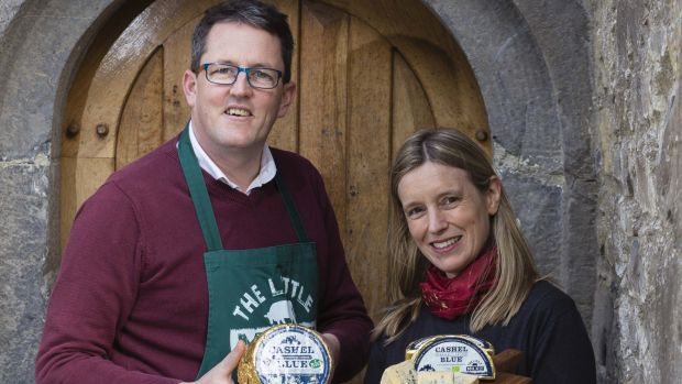 Conor Mulhall of Co Waterford-based The Little Milk Company, and Sarah Furno of Cashel Blue Cheese. The Little Milk Company won an export award for its organic Cashel Blue cheese