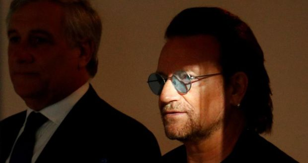 Bono in Brussels: the U2 singer with Antonio Tajani of the European Parliament. Photograph: François Lenoir/Reuters