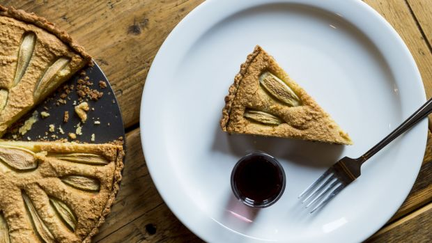 Pear, almond and blue cheese tart. Photograph: Emma Jervis