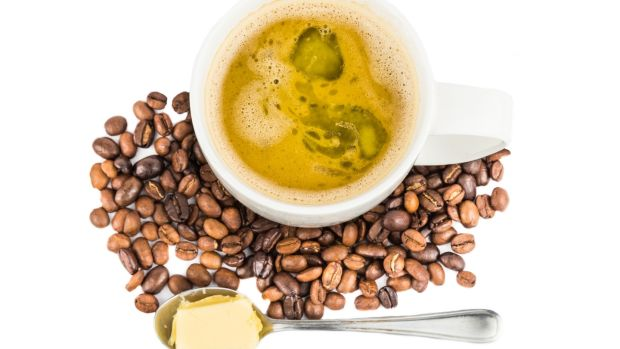 Coffee with added butter, a popular coffee preparation believed to be beneficial to health.