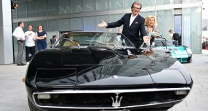 German musical duo Michael  and Marianne Hartl at the opening of a new Maserati showroom in Munich. Photograph: Hannes Magerstaedt/Getty Images