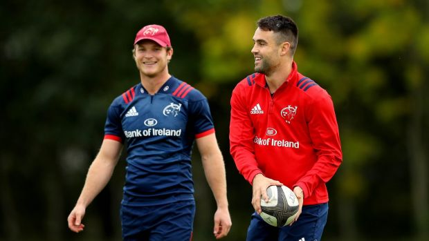 Tyler Bleyendaal and Conor Murray during Munster training ahead of the opening weekend of Champions Cup action. Photo: Ryan Byrne/Inpho