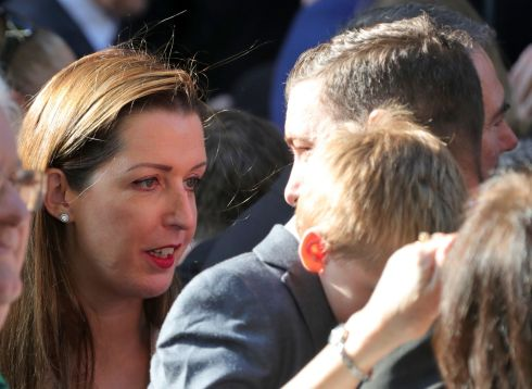 Vicky Phelan, who successfully sued for damages over incorrect smear test results, consoles members of fellow campaigner Emma Mhic Mhathúna's family at the latter's funeral in Dublin. Photograph: Colin Keegan, Collins Dublin