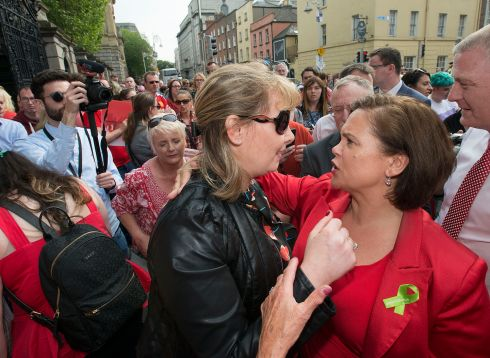 Emma Mhic Mhathuna and Sinn Fein leader Mary-Lou McDonald at a protest. Photograph: Dave Meehan/The Irish Times