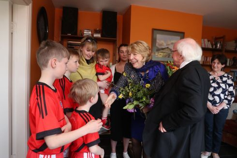 Emma Mhic Mhathuna at home with family meets Sabina Higgins and President Michael D. Higgins. Photograph: Emma Mhic Mhathuna