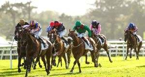Hermosa winnings at Galway in July. Photograph: James Crombieddd/Inpho